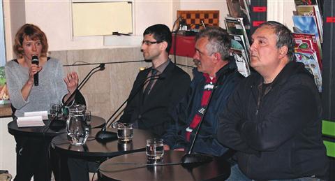 Po premieri dokumentarnega filma Slovenija moja dežela so  ob scenaristu in režiserju Dimitru Anakijevu (desno) spregovorili še Irfan Berišević, Dominik Nemec in Uršula Lipovec Čebron