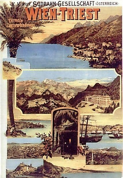 Turistični plakat za oglaševanje turističnih znamenitosti ob Južni železnici.   Na njem je upodobljena tudi Postojnska  jama. Na plakatu je še Ljubljana,  Trst, Semering, Opatija, ...