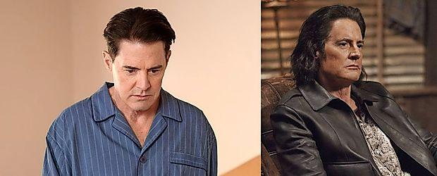 """V Lynchevem svetu sta se znašla dva Dalea Cooperja. Pravega Dalea Cooperja (levo), ki mu ni jasno, kje se je  znašel, zbudi le """"preklemano dobra kava"""" in policijska značka. Drugega Dalea Cooperja, ki se noče vrniti v  Črno ložo, je obsedel Bob."""