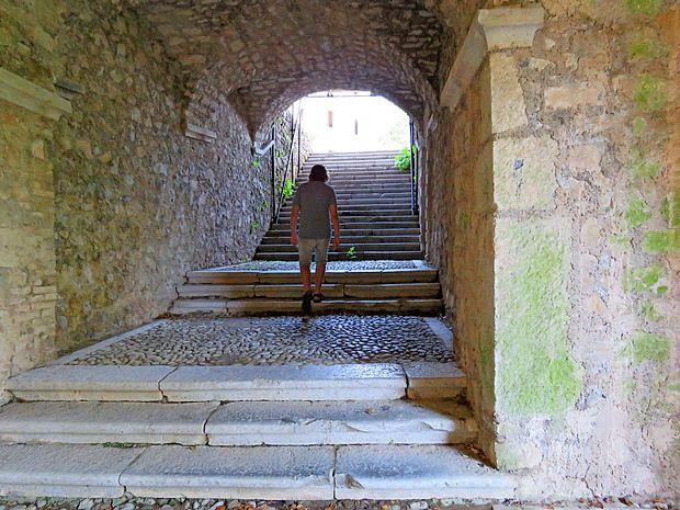 S kamnitih stopnic, ki peljejo na grajsko dvorišče, lahko  poslušamo nenavadno oglašanje netopirjev iz grajskih kleti.