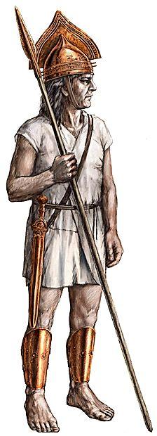 Risarska rekonstrukcija bojevnika z orožjem, odkritim v Mušji  jami, iz časa okrog leta 1000 pr. n. št. Slika Igor Rehar,  predloga Neva Trampuž Orel, Narodni muzej Slovenije.