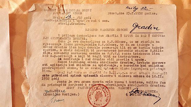 Soglasje za ustanovitev strelskega društva iz leta 1952