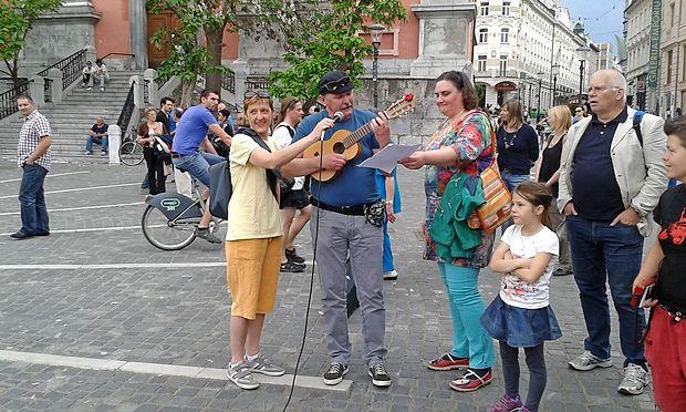 Ksenija Jus in Jani Kovačič na predvčerajšnjem nastopu v  Ljubljani.