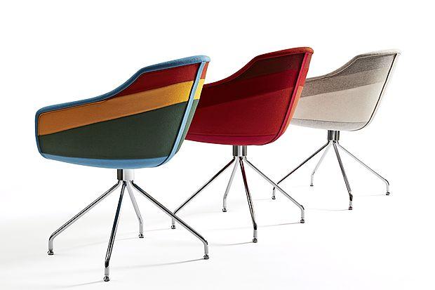 Barvite stole, ki spominjajo na kljune starih čolnov in ladjic, je  za Moooi oblikoval Luca Nichetti.