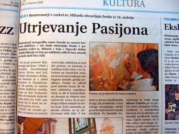 Restavratorji so obnavljali freske iz 16. stoletja v podružnični  cerkvi sv. Mihaela v Selu na Vipavskem.