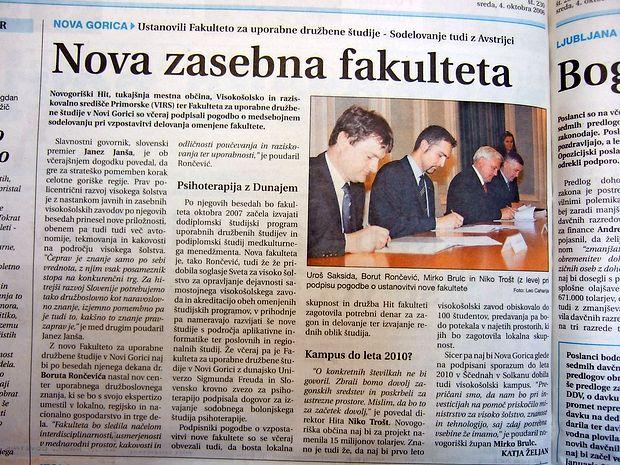 V Novi Gorici so ustanovili novo zasebno fakulteto.