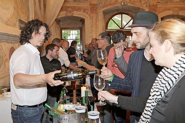 Miha Batič iz Šempasa je predstavil ekološko biodinamično  pridelana vina kmetije Batič.