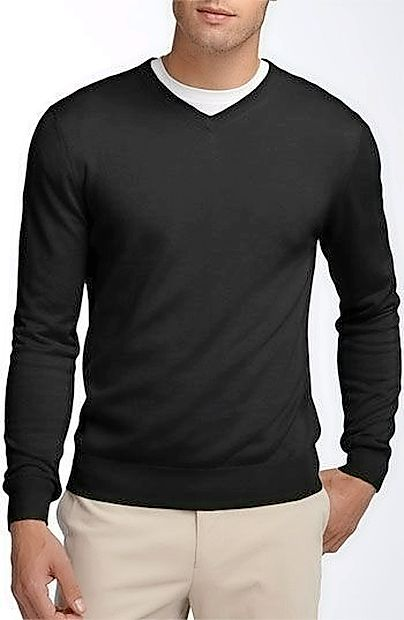 Moški,  ki obožujejo bolj  sproščen slog,  imajo pod   puloverjem na V izrez oprijeto  majico s kratkimi rokavi.