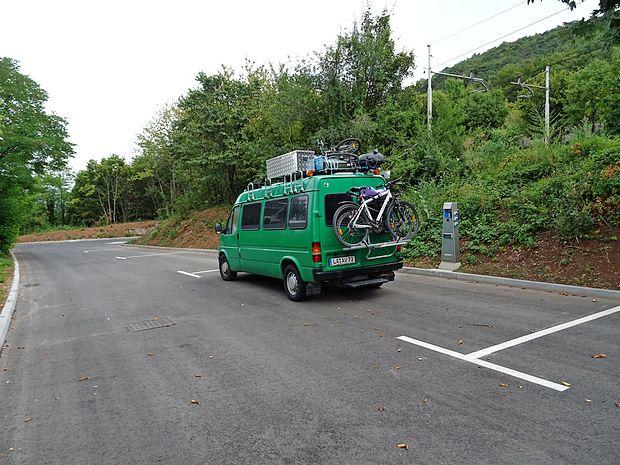 Čeprav parkirišče za avtodome v Sežani še ni uradno odprto,  je bil včeraj na njem parkiran avtodom iz Nemčije.