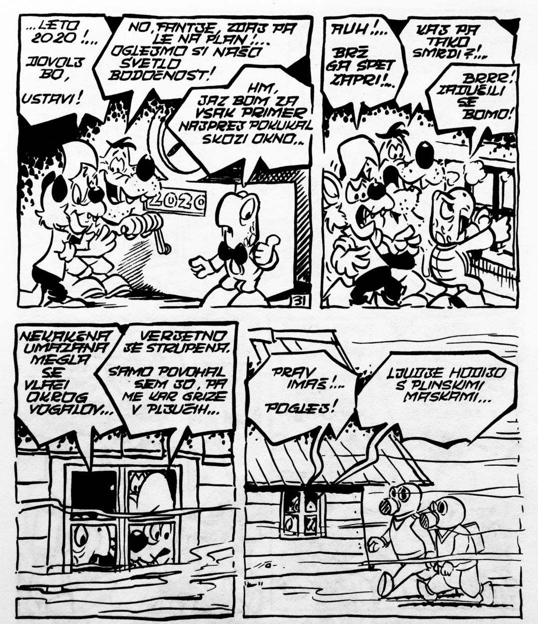 Zvitorepec, Trdonja in Lakotnik v Mustrovem stripu iz leta 1971 potujejo pol stoletja v prihodnost in leta 2020 opazujejo - izredne razmere.