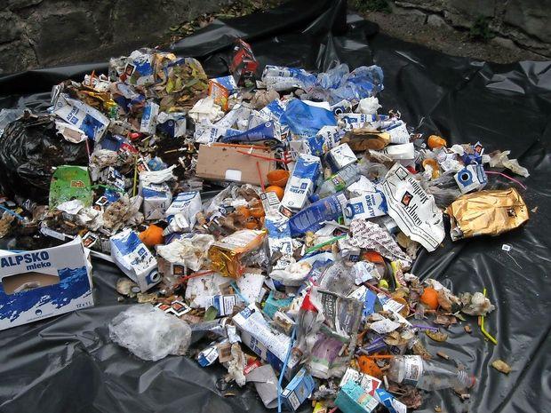 Plastični lev naj skoči med mešane odpadke