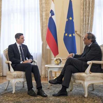 Pahor se je za neuraden pogovor s predsednikom Katalonije  odločil, ko ga je Torra v začetku tega tedna osebno pisno zaprosil  za neuraden sprejem. Foto: UPRS