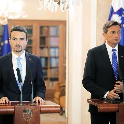 Matej Tonin in Borut Pahor Foto: Sta