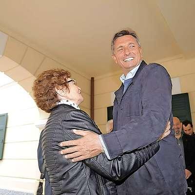 Borut Pahor s soprogo Tanjo in mamo Ivo.
