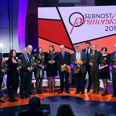Utrinek s prireditve ob razglasitvi osebnosti Primorske za leto  2016. Laskavi naziv sta si prislužila Vasja Klavora in Igor  Komel.  Foto: Zdravko Primožič/FPA