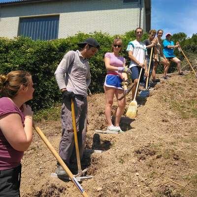 Mladi prostovoljci iz tujine so v Prisojah gradili stopnice, s katerimi  bo bližnjica do Olma, ki jo uporabljajo šolarji, bolj varna.