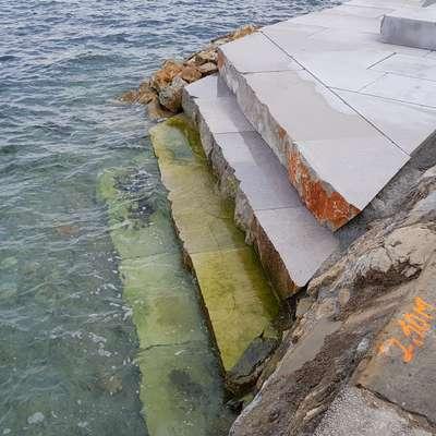 Spodnji del stopnic iz kraškega apnenca so pričakovano prerasle  alge, zato se domačini bojijo, da bo dostop v morje nevarno  drseč.  Foto: Nataša Hlaj