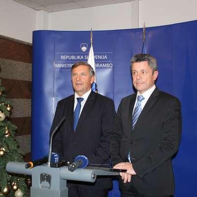 Minister Karl Erjavec (levo) in župan Igor Marentič sta včerajšnji  sestanek ocenila kot konstruktiven, odprt in temeljit. Foto: Veronika Rupnik Ženko