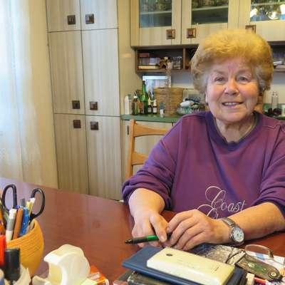 Ana Godnik na svoji mizi nima računalnika, njeno glavno  orožje je kemični svinčnik.  Foto: Petra Mezinec