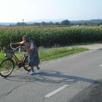 Jutranje srečanje med kolesarjenjem ob Dravi. Foto: Nace Novak